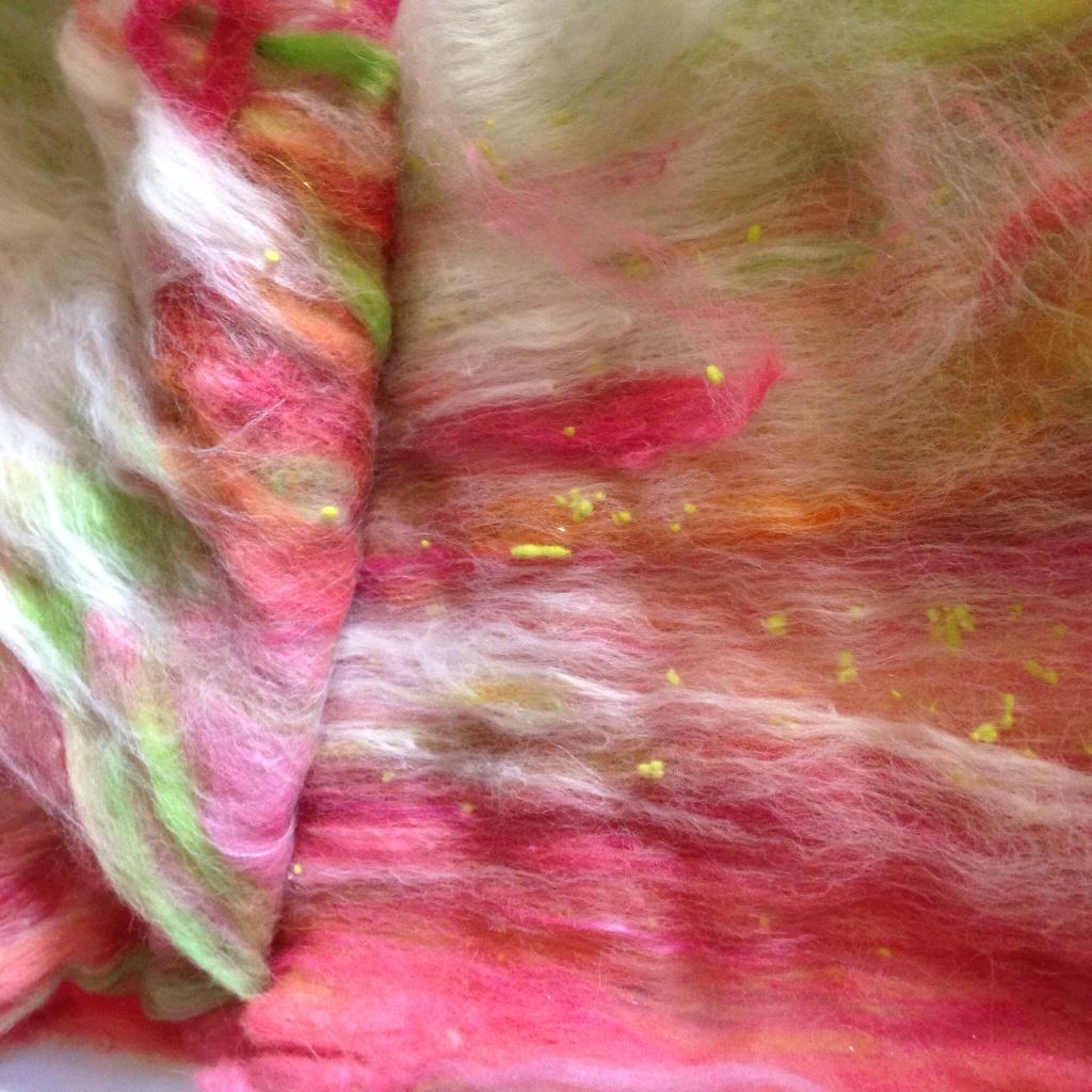 Batt layers peeled back to reveal  inside