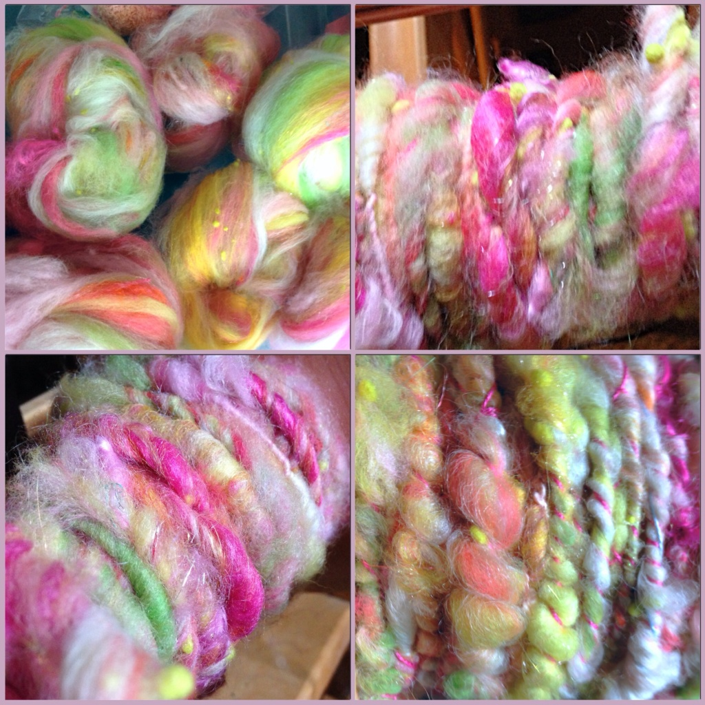 Nests, singles, plied on bobbin