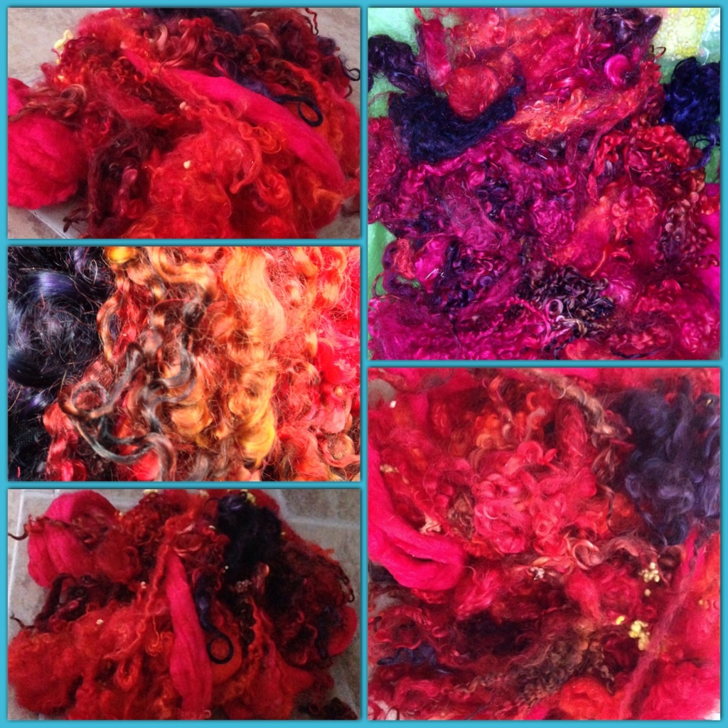 This scrapbox was dyed a work of art. I've never seen a red quite like this, and I'm in love with it. All the other colors in this package just magnify and perfectly compliment the depth of saturation in this fiber